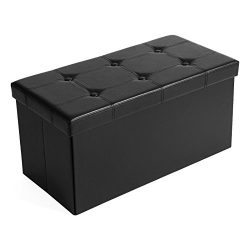 SONGMICS 30″ L Faux Leather Folding Storage Ottoman Bench, Storage Chest/Footrest/Coffee T ...