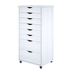 Adeptus 88013 8 Drawer Wide Roll Cart Solid Wood, White