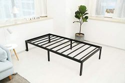Noah Megatron 14 inch Heavy Duty Twin Size Metal Platform Bed Frame/No Box Spring Needed Mattres ...
