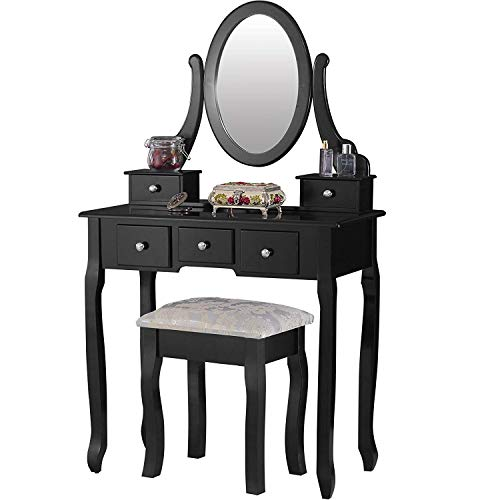 Mecor Vanity Makeup Table Set/5 Drawers, Vanity Sets with Oval Mirror and Bench Dressing Table B ...