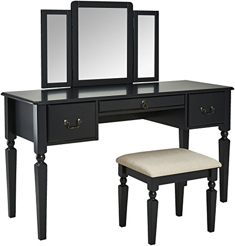 AmazonBasics Vanity Set with Stool, Black