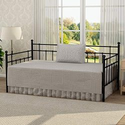 Victorian Style Platform Metal Day Bed Frame Foundation with Headboard Heavy Duty Steel Slabs Tw ...