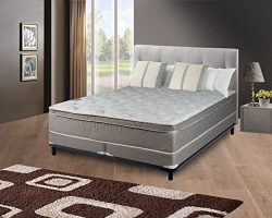 Continental Sleep, 11-inch Medium Plush Eurotop Innerspring Mattress and 4-inch Split Box Spring ...