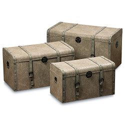 Whole House Worlds The Tribeca Steamer Trunks, Treasure Chests, Storage Boxes, Set of 3, Beige F ...