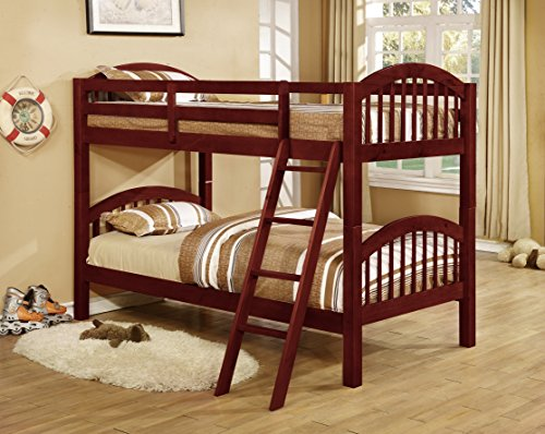 Major-Q Wood Frame Bunk Bed with Easy Access Guard Rail (SH45215_Cherry)