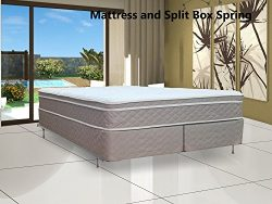 Spinal Solution, 10-inch Plush Innerspring Eurotop Mattress and Split Box Spring/Foundation Set, ...
