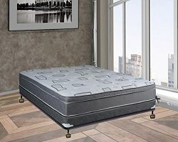 Spring Solution, 10-inch Medium Plush Innerspring Eurotop Pillowtop Mattress and 4-inch Box Spri ...