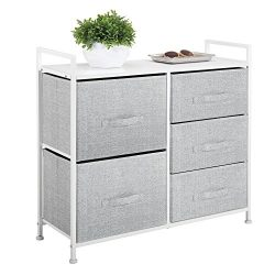 mDesign Wide Dresser Storage Tower – Sturdy Steel Frame, Wood Top, Easy Pull Fabric Bins & ...