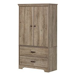 South Shore 2-Door Armoire Adjustable Shelves Storage Drawers, Weathered Oak