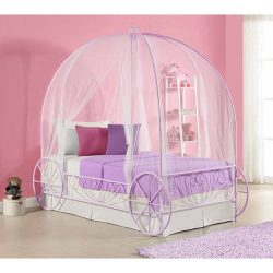 Metal Carriage Bed Frame, Twin Size, Lilac, Low Profile Designed Bed, Crown, Bedroom Furniture,  ...