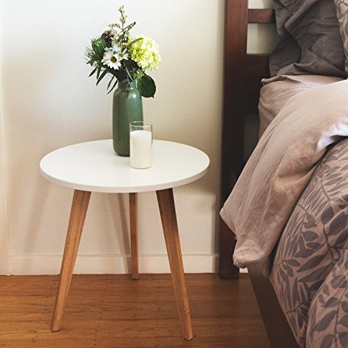 STNDRD. Bamboo End Table: Modern Round Coffee Table – Living Room Side Table for Magazines ...