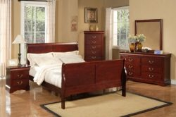 Alpine Furniture Louis Philippe II 4 Piece Bedroom Set, Full Size