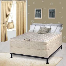 Continental Sleep, 10-inch Plush Eurotop Innerspring Mattress and Box Spring/Foundation Set, No  ...