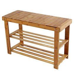 Iusun Bamboo Shoe Rack Foot Stool Storage Shelf Origanizer Bench for Bedroom Living Room Hallway ...