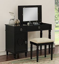 Major-Q Pxf4177 Black Finish Flip up Mirror Wooden Vanity Set with Stool