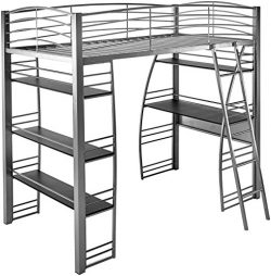 DCraft A0017 Contemporary Twin Metal Loft Bunk Bed Over Desk Bookcase, Gray