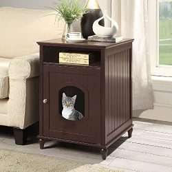 UniPaws Designer Cat House, Cat Washroom, Indoor Pet House Nightstand, Litter Box Enclosure Side ...