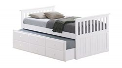 Broyhill Kids Marco Island Captain's Bed with Trundle Bed and Drawers, Twin, White, Twin-S ...