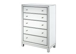 Decor Central ADMFX7-6078 Rectangle Chest with Drawers, 34″, Antique Silver Paint Finish