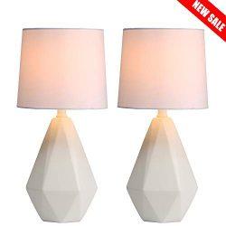 SOTTAE Modern Ceramic Small White Irregular Geometric Livingroom Bedroom Bedside Table Lamp,Cute ...