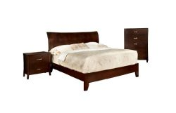 Furniture of America Bex 3-Piece Platform Bed Set with Nightstand and Chest, Queen, Brown Cherry ...