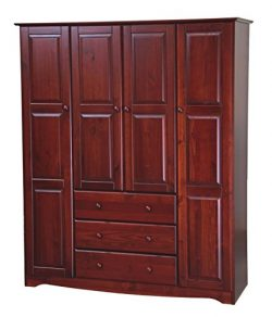 New! 100% Solid Wood Family Wardrobe/Armoire/Closet 5962 by Palace Imports, Mahogany, 60″  ...