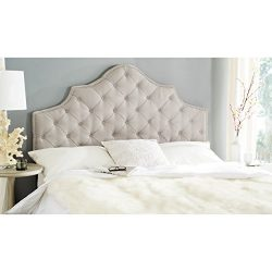 Safavieh Arebelle Taupe Linen Upholstered Tufted Headboard – Silver Nailhead (Queen)