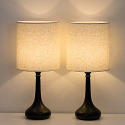 HAITRAL Bedside Table Lamps Set of 2 – Modern Nightstand Lamps, Simple Desk Lamps for Bedr ...