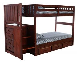 Discovery World Furniture Mission Twin Over Twin Staircase Bed with 3 Drawer Storage, Merlot