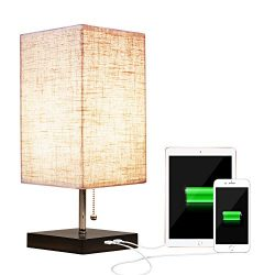 Siljoy Modern Design Bedside Table Lamps with USB Charging Port Nightstand Table Lamps USB Table ...