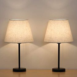 HAITRAL Bedside Table Lamps – Small Nightstand Lamps Set of 2 with Fabric Shade Bedside De ...