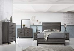 Kings Brand Furniture – Ambroise 6-Piece Queen Size Bedroom Set, Grey/Black. Bed, Dresser, Mirro ...