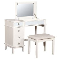 Riverbay Furniture Eva 2 Piece Bedroom Vanity Set in White