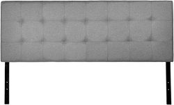 AmazonBasics Faux Linen Upholstered Headboard – Grey, Queen