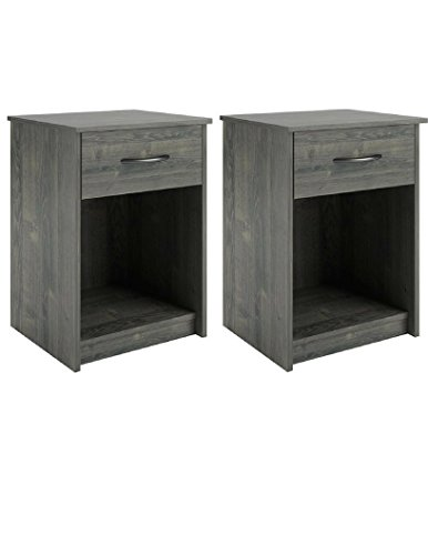 Set of 2 Nightstand MDF End Tables Pair Bedroom Table Furniture in Rodeo Oak