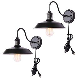 Kingmi Dimmable Wall Lamp Black Industrial Vintage Farmhouse Wall Sconce Lighting Gooseneck Wall ...