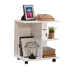 GreenForest Nightstand with Rolling Wheels End Table Wooden Storage Shelf Printer Stand Bedside  ...