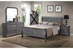 GTU Furniture Classic Louis Philippe Styling Grey Louis Philippe 4Pc Queen Bedroom Set(Q/D/M/N)