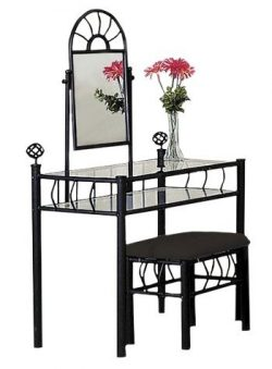 Black Metal Bedroom Vanity with Glass Table & Bench Set