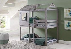 Donco Kids 1370-TTLG Deer Blind Bunk Loft Bed, Twin, Light Grey