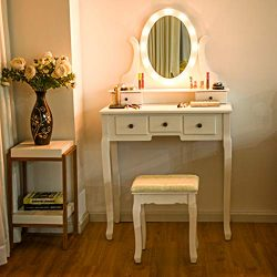 Giantex Vanity Dressing Table Set with Makeup Mirror, with 12 LED Lights Removable Top Organizer ...
