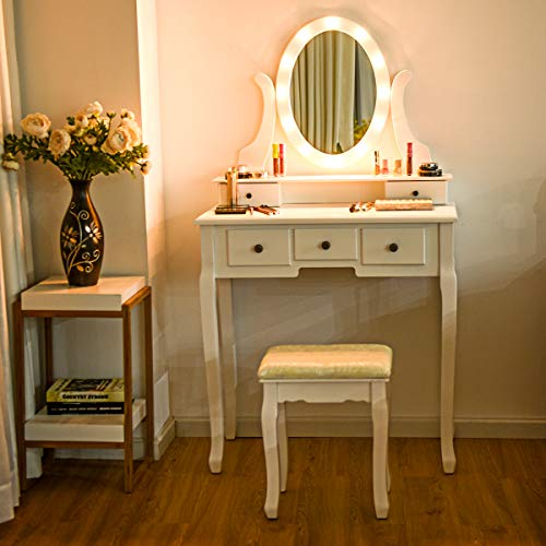 Giantex Vanity Dressing Table Set with Makeup Mirror, with ...