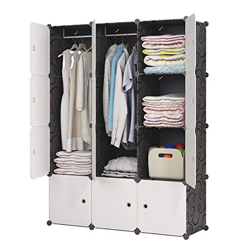 KOUSI Portable Closet Portable Closet Clothes Wardrobe Bedroom Armoire Storage Organizer with Do ...