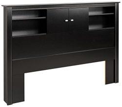 Black Kallisto Bookcase Headboard with Doors