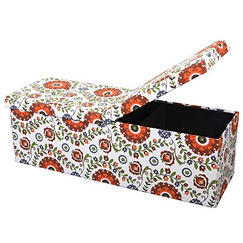 Otto & Ben 45″ Storage Folding Toy Box Chest with Smart Lift Top Mid Century Upholster ...