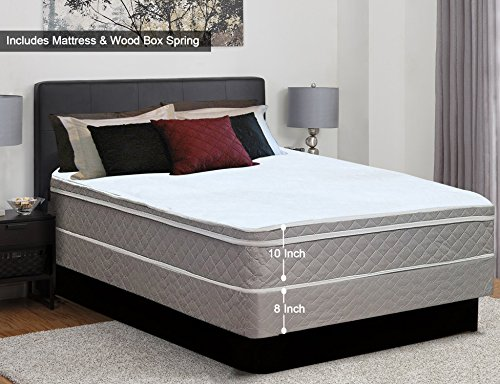Greaton, 10″ Pillowtop Assembled Orthopedic Mattress and Box Spring, With Bonus Pillow Que ...