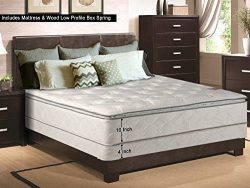 Continental Matress, 10-Inch Medium Plush Pillowtop Innerspring Mattress and 4-inch Box Spring/F ...