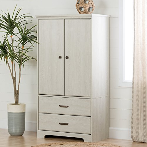 South Shore 2-Door Armoire with Adjustable Shelves and Storage Drawers, Winter Oak