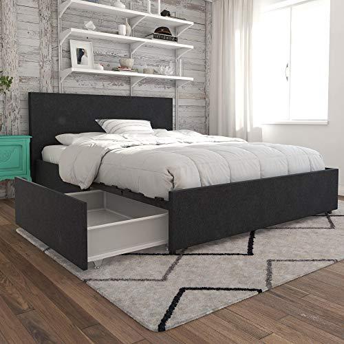 Novogratz 4296429N Kelly Bed with Storage Full Dark Gray Linen
