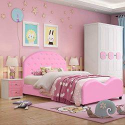 Costzon Toddler Bed, Upholstered Platform Bed W/Embedded Crystal Wood Bedframe Cylindrical Feet  ...